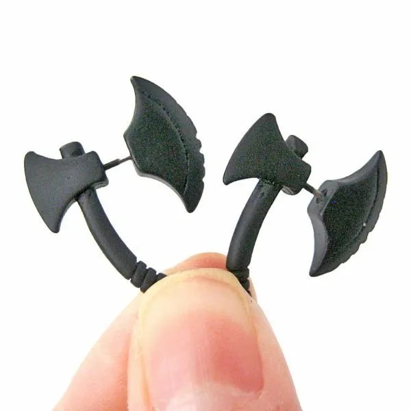 Black Axe Stud Men Earrings