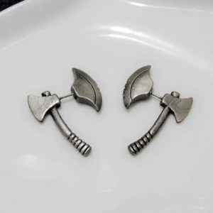Black Axe Stud Men Earrings