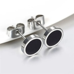 Black Circle Earrings for Men 4 Sizes