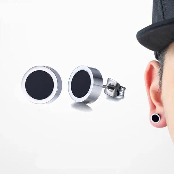Black Round Tunnel Stud Men Earrings