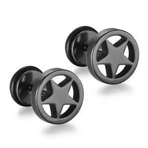 Stainless Steel Black Star Stud Men Earrings