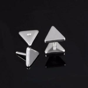Stainless Steel Triangle Stud Men Earrings