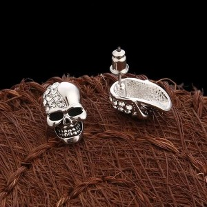 Rhinestone Punk Crystal Skull Stud Men Earring