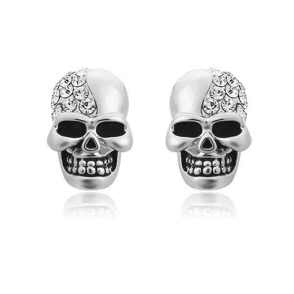 Rhinestone Punk Crystal Skull Stud Men Earring