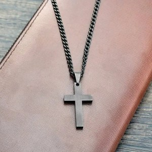 Stainless Steel Black Cross Men Necklace