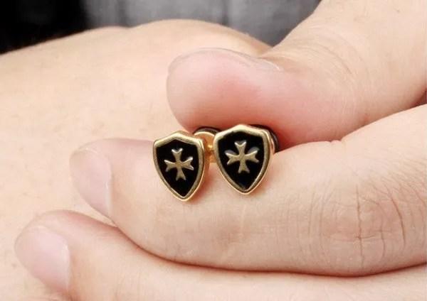 Shield Cross Men Earring