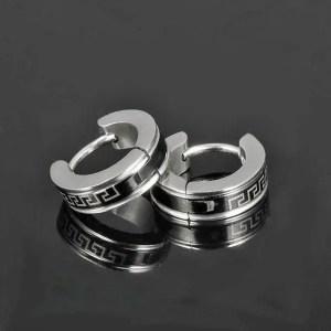 316L Stainless Steel Round Stud Men Earrings