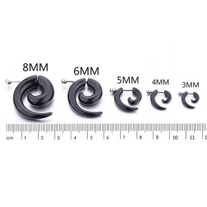 Black Spiral Snail Stud Men Earrings