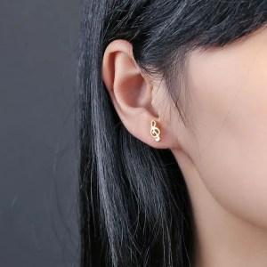 G Clef Music Note Stud Men Earrings