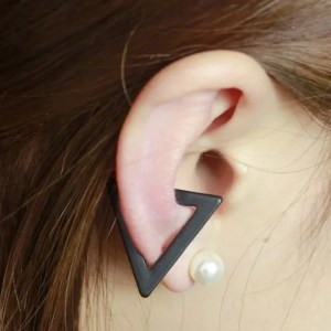Black Triangle Clip Ear Cuff Earrings  for Men