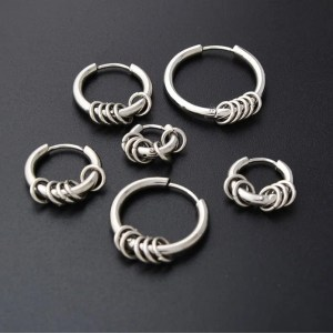 Round Five Circle Hoop Earring Men