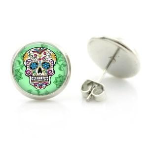Colorful Sugar Skull Stud Earring