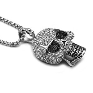 Titanium Rhinestone Skeleton Skull Necklace