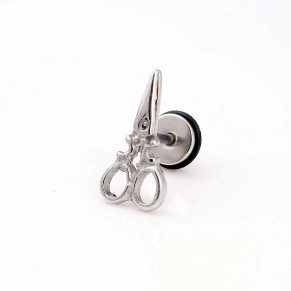 Stud Scissors Earrings For Men