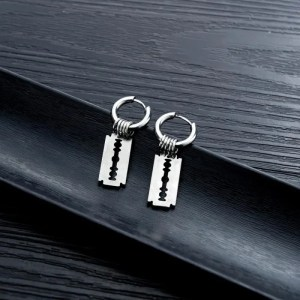 Razor Hoop Earrings for Men 4