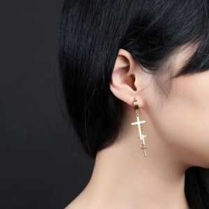 Dangling 3 Cross Earrings For Guys 5