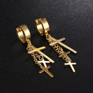 Dangling 3 Cross Earrings For Guys 2