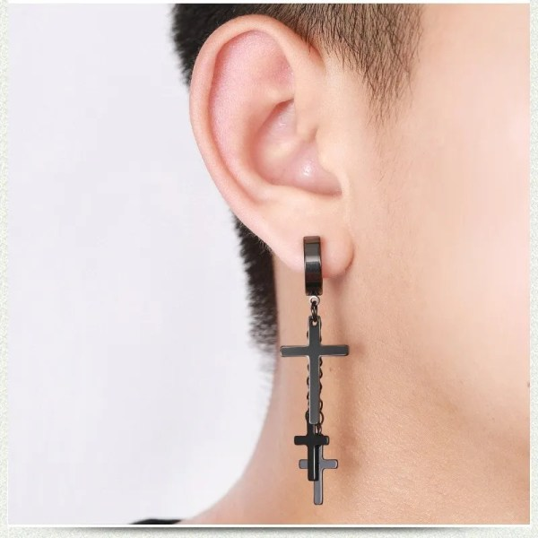 3 Hanging Cross Earring Men Clip On 4
