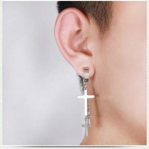 3 Hanging Cross Earring Men Clip On 3