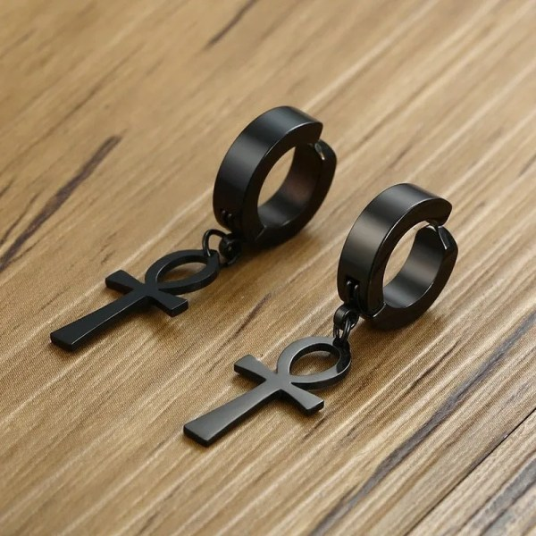 Clip On Ankh Cross Earrings for Men 4