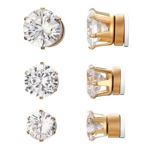 RoundMagnetic Earrings For Unpierced Ears Men 3 Sizes 3 Colors Gold