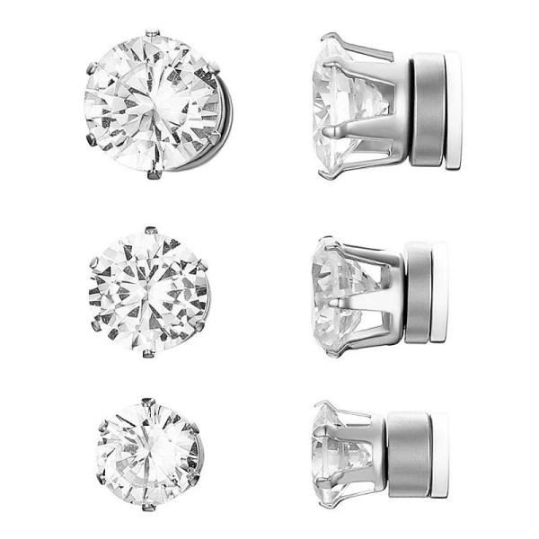 RoundMagnetic Earrings For Unpierced Ears Men 3 Sizes 3 Colors Silver