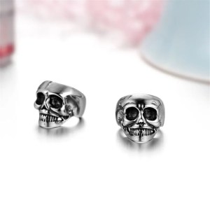 Skull Non-piercing Clip Earring Stainless Steel Men 3