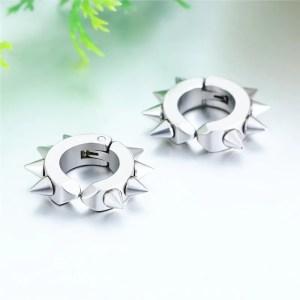 Clip on spike huggie earrings Hoop Stainless Steel Men 1