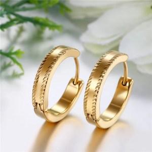 Gold Big Hoop Earrings Stainless Steel Mens 4