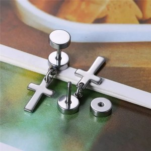 Stud Earring with Hanging Cross for Men Stainless Steel