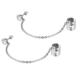 Stud Earrings With Ear Chain Cross Zircon Stainless Steel