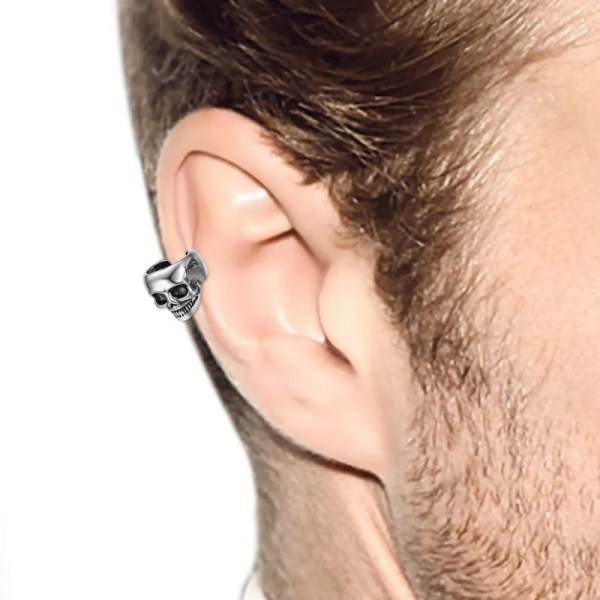 Skull Non-piercing Clip Earring Stainless Steel Men 5