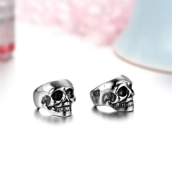 Skull Non-piercing Clip Earring Stainless Steel Men 4