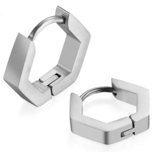 Hexagon Hoop Earrings Stainless Steel 3 Colors Silver
