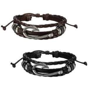 Fish Hook Bracelet Handmade Leather for Men