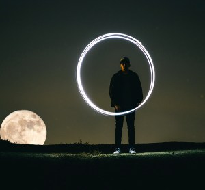 moon night time man circle of light