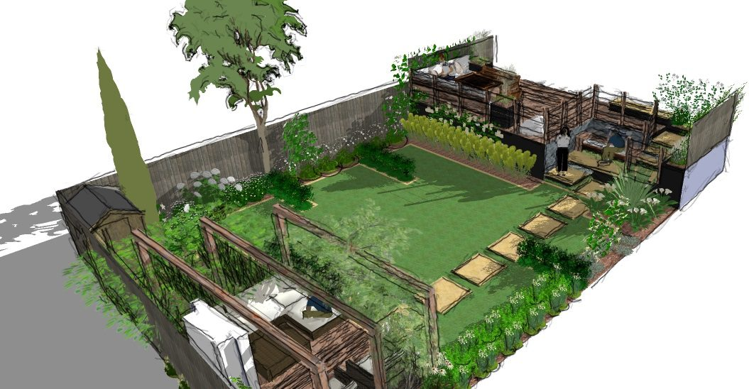 A Modern Garden Design Presentation - Split level - Earth ... on Split Garden Ideas id=99625
