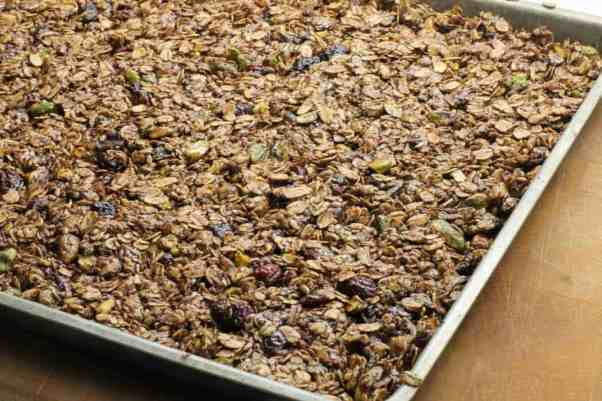 Bake the pistachio granola mixture at 300F for 30 minutes.