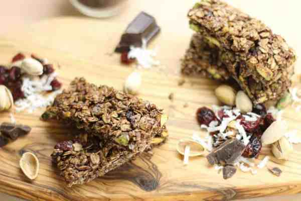 Pistachio, Cocoa, and Cherry Granola Bars, the ideal healthy snack food.