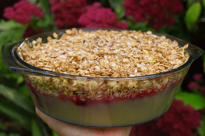Healthy Bramley Apple and Sweet Cherry Crumble [Vegan & Gluten Free]