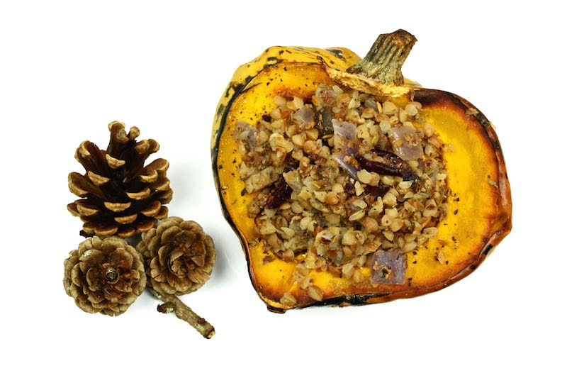 Roasted Winter Squash Stuffed with Buckwheat, Walnuts and Cranberries.