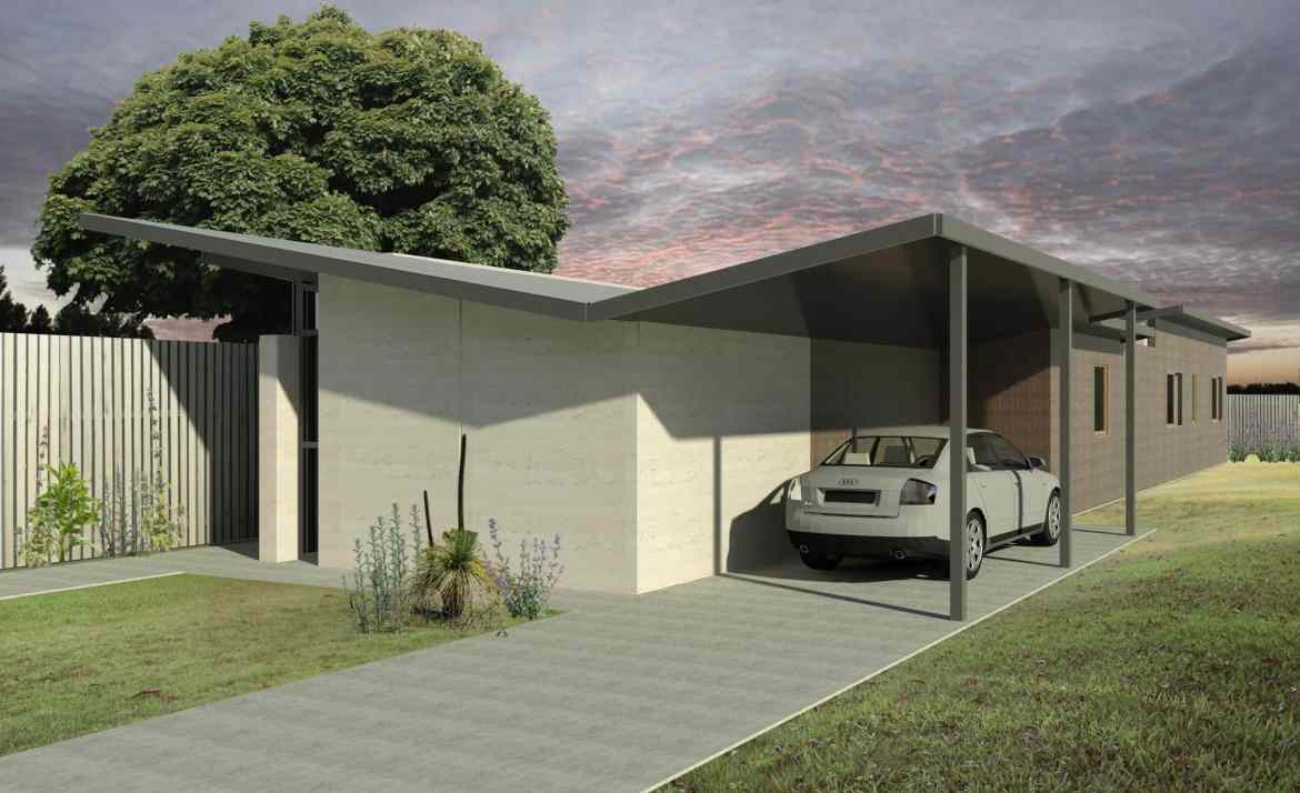 The Butterfly is a 3-bedroom house design by EarthHouse, which designs and builds rammed earth homes in Melbourne and the Mornington Peninsula
