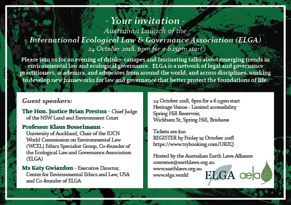 Ecological Law and Governance Association Launch flyer