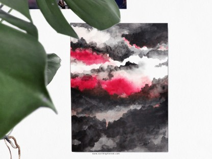 Red and Black Watercolor Aquarelle