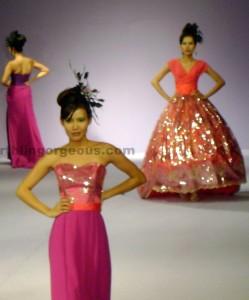 Lloyd Arceo pink and orange ball dresses