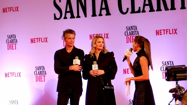 Drew Barrymore Timothy Orlyphant in Manila for Santa Clarita Diet