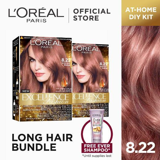 LOreal Paris Set of 2: Excellence Fashion Parisian Browns Hair Color in 8.22 Rose Gold