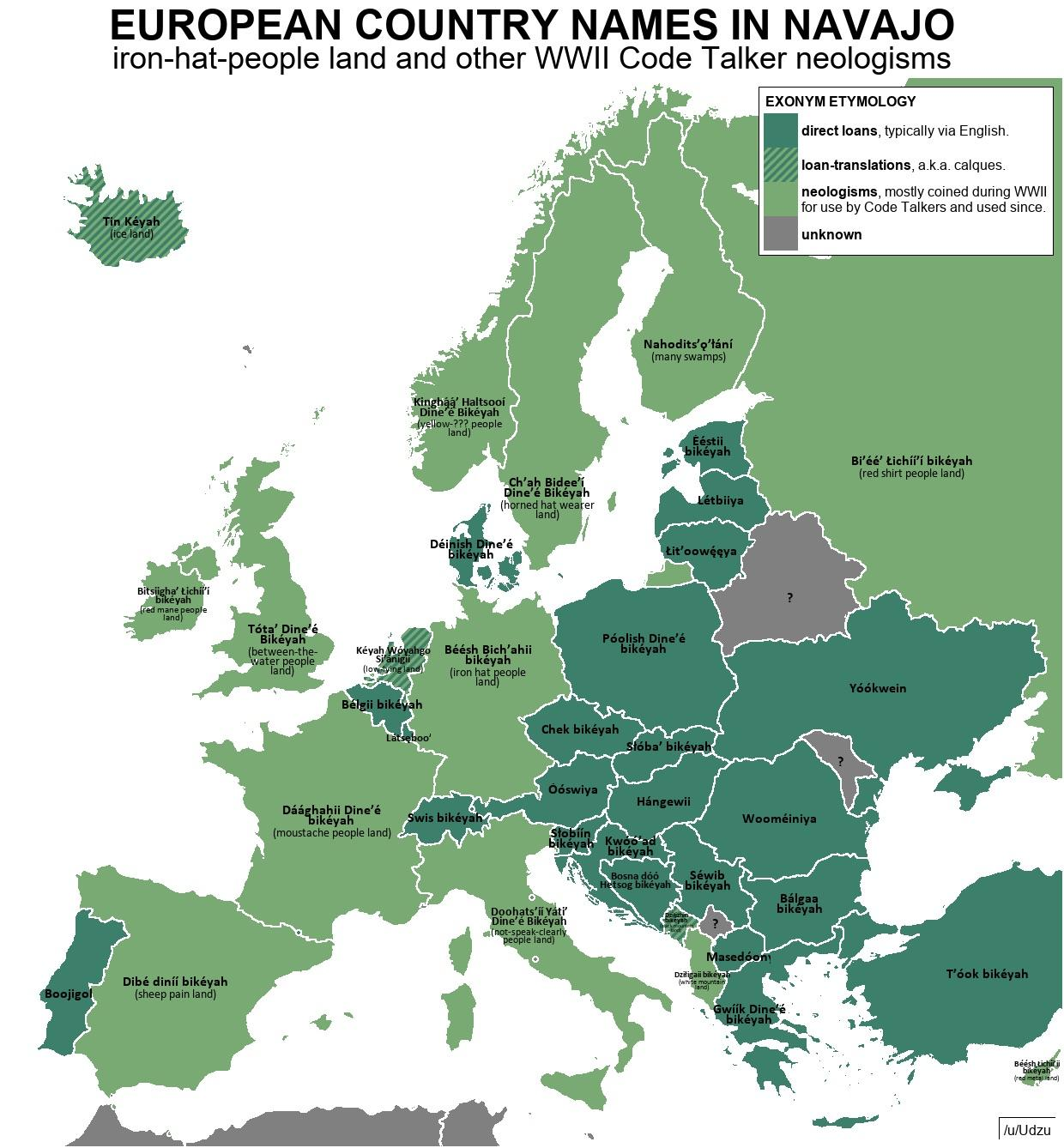 European Country Names In Navajo Coined As Wwii Codes