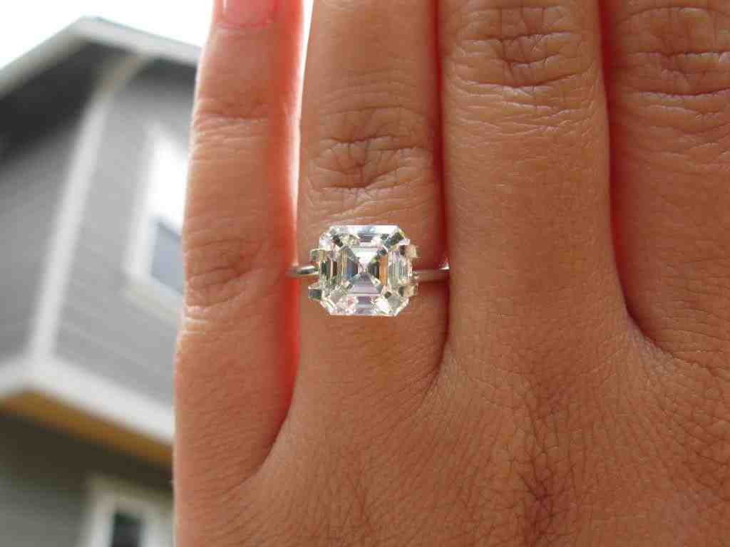 Asscher Cut Solitaire Engagement Rings Wedding And
