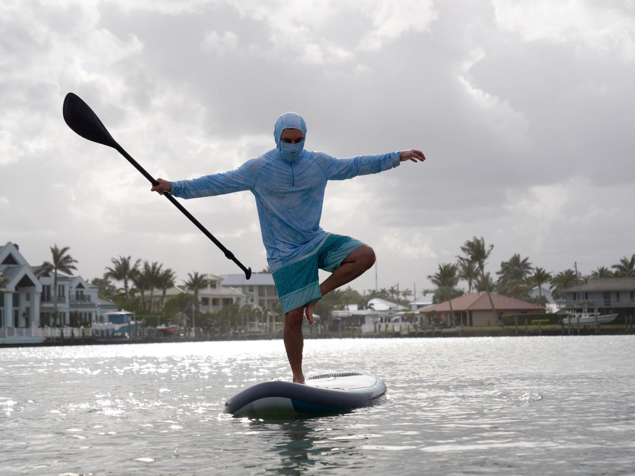 "SUP Ninja showing balance on a 5"" SUP board"